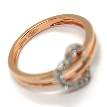 SOLID 18K ROSE GOLD DOUBLE TUBE BAND RING WITH CENTRAL CUBIC ZIRCONIA HEART image 2