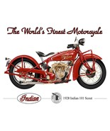 1928 Indian Scout World's Finest Motorcycle Terry Pastor Art Metal Sign - $29.95