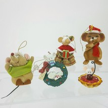 Set of 5 Mouse Mice Ornament Figurine Flocked Plush Straw Granny Tart Wr... - $9.49