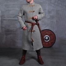 Medieval Gray Turtleneck Long Sleeve Padded Canvas Gambeson Tunic Battle... - $172.95