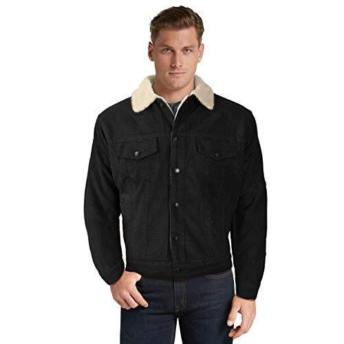 Men's Classic Button Up Fur Lined Corduroy Sherpa Trucker Jacket (XL, Black)