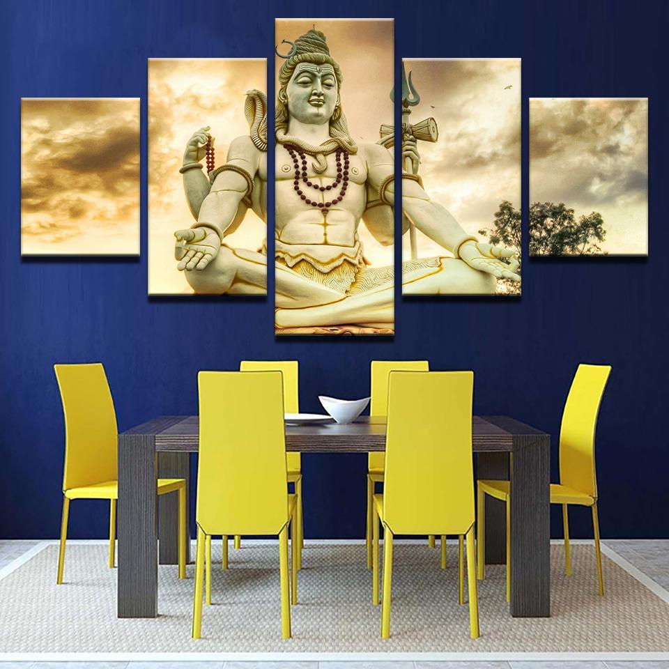 Shiva Statue 5 Pcs Canvas Wall Art Painting and similar items