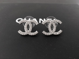 Authentic Chanel Classic Large CC Logo Crystal Light Silver Stud Earrings