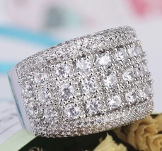 Simulated Diamond Eternity Platinum Over Sterling Silver Anniversary/Coc... - $49.50