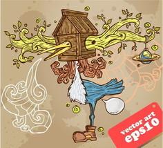 Cartoon Overgrowing Bird House  3.5 inch Sticker white Vinyl laptop - $2.49