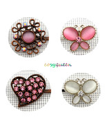 4 Pack Pink White Butterfly Floral Heart Swarovski element crystal bobby... - $22.00
