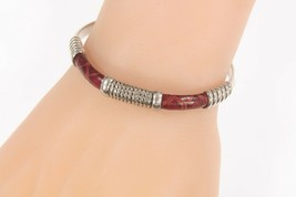 Vintage Leather and Wire Wrap Sterling Silver Cuff Bracelet TV-100 Mexico - $154.83