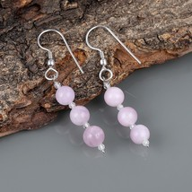 Kunzite with White Topaz 925 Sterling Silver Drop Dangle Earrings Jewelr... - $18.99