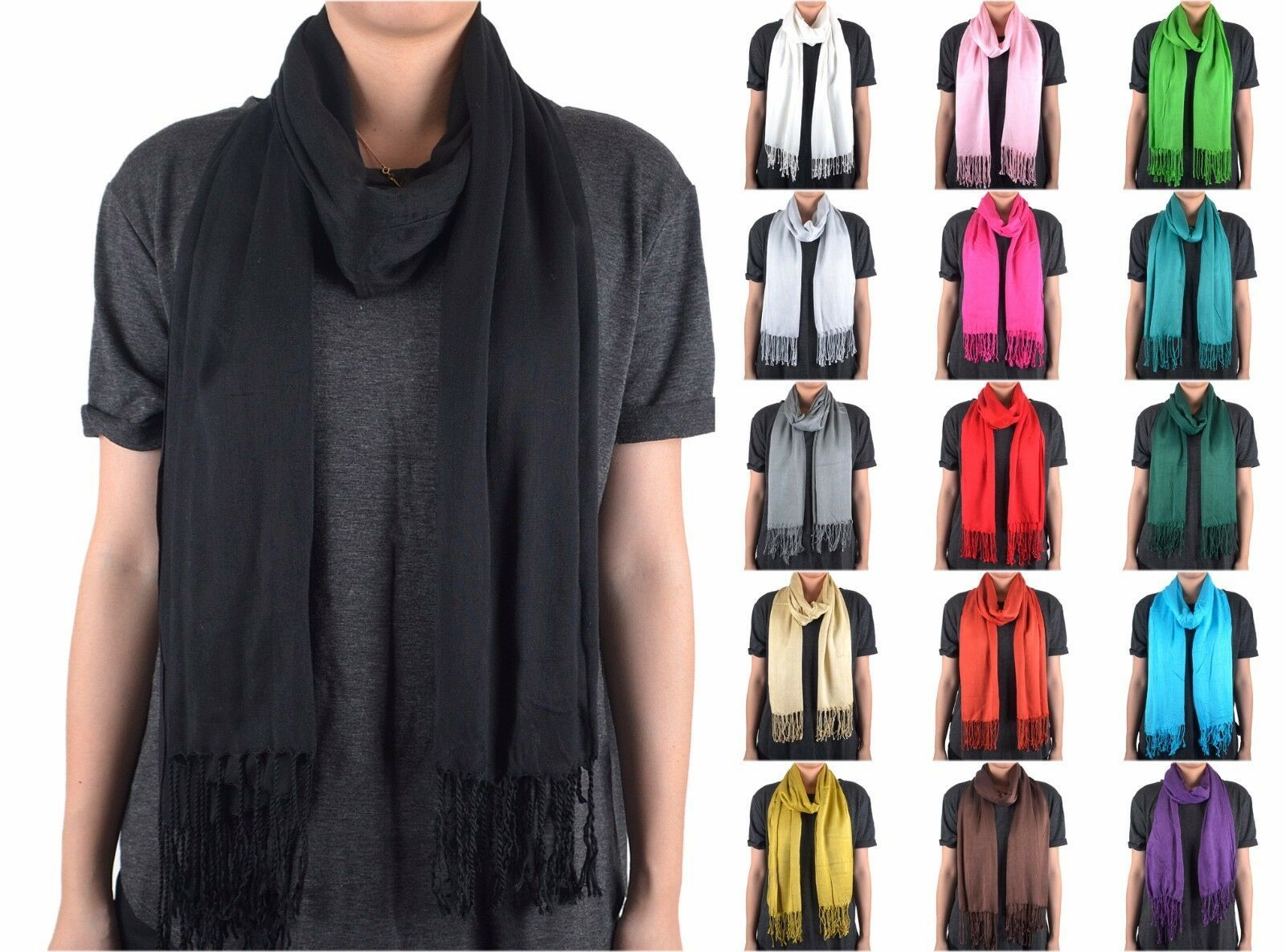 Primary image for Solid Color Plain Long Scarf Wrap Shawl Soft Classic Fashion Fringe Tassel