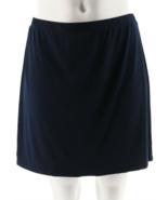 Susan Graver Choice of Solid or Print Liquid Knit Pull-On Skort,Navy Sol... - $29.69