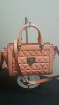 NWT Michael Kors Peach Vivianne Small Top Zip Satchel Purse Quilted Bag ... - $188.09