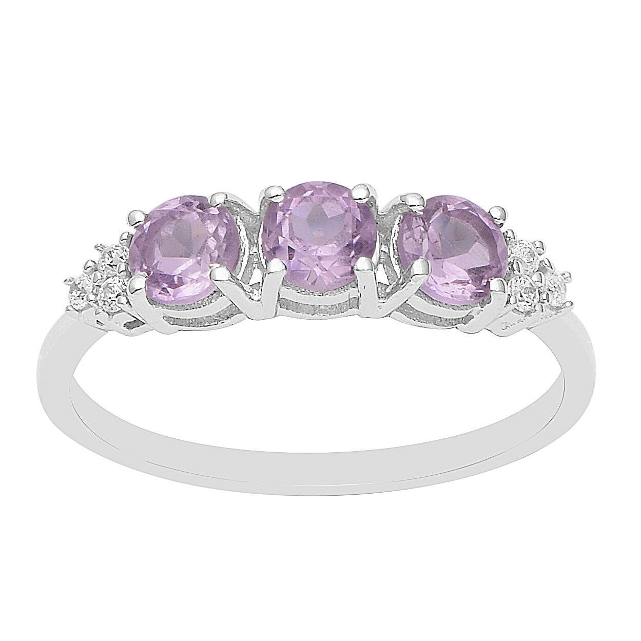 Amethyst & Cubic Zircon 925 Silver Stackable Women Wedding Band Three Stone Ring