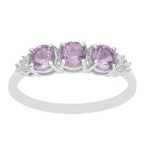 Amethyst & Cubic Zircon 925 Silver Stackable Women Wedding Band Three St... - $13.21