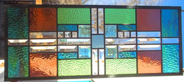 Stained Glass Window Transom/Sidelight Beveled Glass green mauve turquoise - $127.00