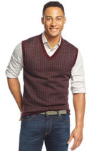 Club Room Men's Red Plum Combo Merino Houndstooth Wool Blend Vest Sweate... - £26.85 GBP