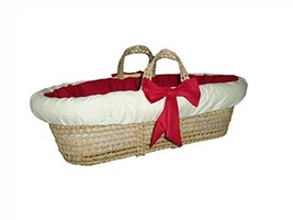 Baby Doll Bedding Solid Reversible Moses Basket, Red/Yellow - $34.32