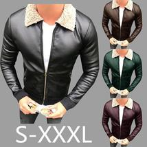 S 3xl Men Fashion Fur Cotton Winter New Wool Inside Fur Sheepskin Men Pu Leather