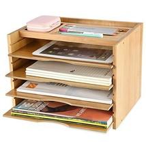 Exblue Bamboo File Organizer Desk Paper Sorter with 5 Adjustable Shelves... - $36.22