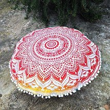 Indian Ombre Mandala Tapestry Round Pouf Cover Throw Cotton Ottoman Foot... - $24.12