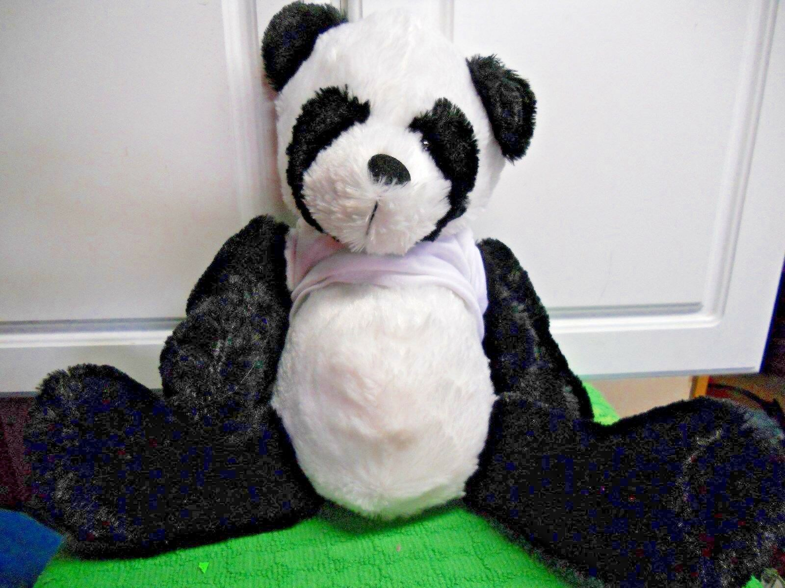 "Primary image for Plush Panda Black White with White Tshirt 16"" Stuffed Animal Toy"