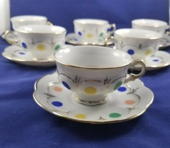 Vintage 12 Piece Tea Set White By Nambo Extra Set Has Handpainted Gold A... - $22.99