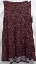 Womens LuLaRoe Azure Skirt Wide Waistband  SMALL Navy Purple Orange Flowers NWT - $29.44
