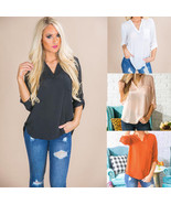 "Women""s Casual Chiffon Blouse Summer Long Sleeve Shirt Blouse V-neck Sol... - $34.80"