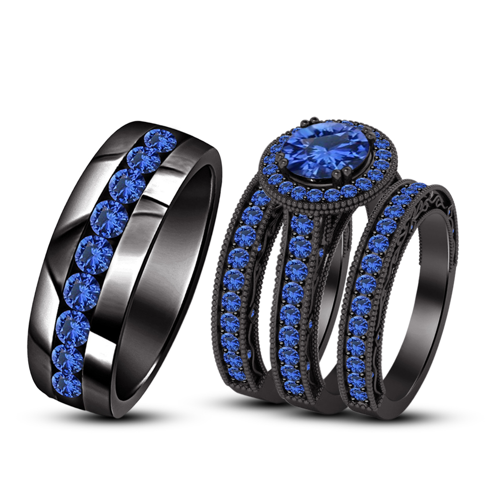 Round Cut Blue Sapphire Trio Wedding Ring Set 18k Black Gold Finish & Free Gift