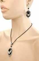 Goth Punk Black Bat Cameo Pendant Necklace & Earrings Set, Witchcraft, Gothic - $20.90