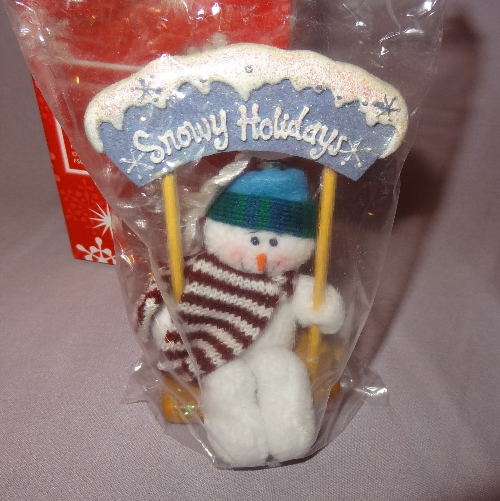 "Primary image for Snowmen Swinging Christmas Minis Tree Ornaments Resin 5"" Snowy Holidays Avon"