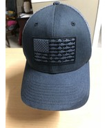 Columbia PFG Fishing Hat Fitted Gray American Flag Fishes. FLEXFIT Mesh ... - $25.97