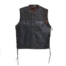 Leather Vest F2 Side Lases Leather Motorcycle Men Vest Braided Orange Pa... - $92.84