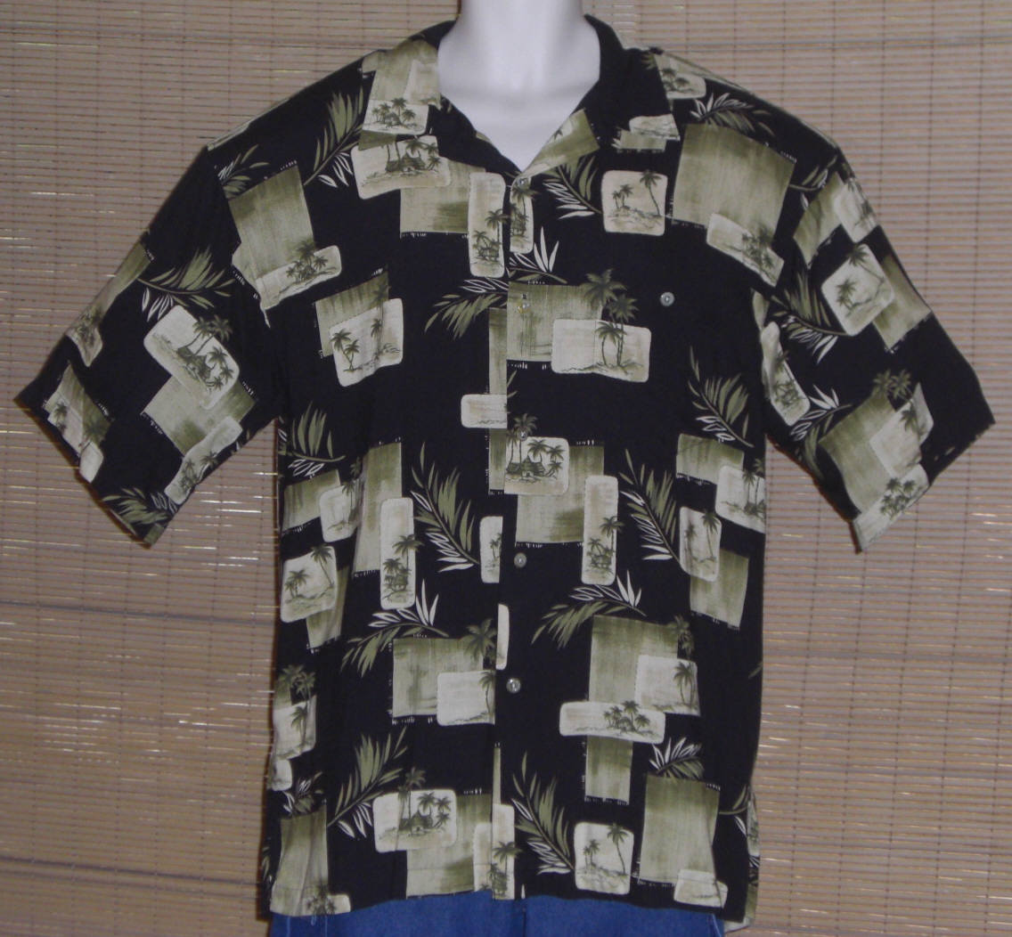 Primary image for Hilo Hattie Hawaiian Shirt Black Green Tan Palm Trees Island Huts Size XL