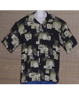 Hilo Hattie Hawaiian Shirt Black Green Tan Palm Trees Island Huts Size XL - $29.99