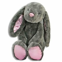 Long Pink Satiny Eared Rabbit Grey 16 inch Plush NEW made by fiesta for... - $14.03
