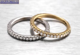 Lovely Ladies 14K Yellow White Gold 0.96ctw Diamond Stackable Ring Band Set - $1,189.00