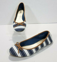 Coach and Four Striped Canvas Ballet Flats Bow Accent Womens 10 White Bl... - $20.57