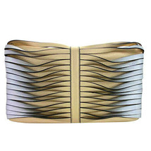 Sondra Roberts Twisted Nappa Fold Over Clutch Gold/Silver - £56.52 GBP