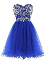 Women's Short Sweetheart Beaded Prom Dress Tulle Homecoming Dress Cocktail Gowns - $104.99