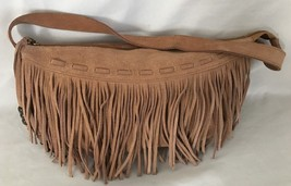 """Brown Seude 3X6X11"""" Fringed Candies Purse w 14"""" Handle & 2 Pockets - $13.91"""