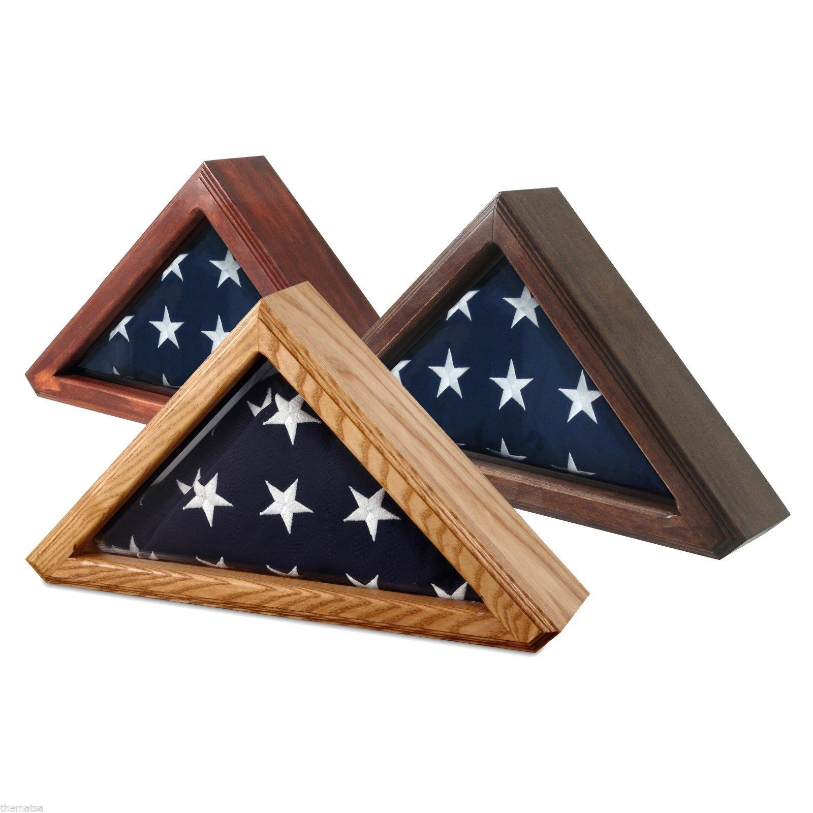 Primary image for USA MADE SOLID WOOD OAK CHERRY WALNUT FINISH FLAG DISPLAY CASE SHADOW BOX