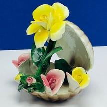 Capodimonte porcelain flower sculpture Italy figurine vtg seashell clam shell - $173.93