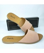 Qupid Pink Single Band Sandals Summer Slides Open Toe Flat Slip On Shoes... - $18.80