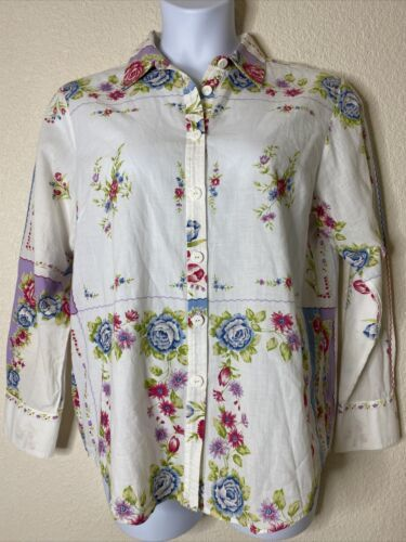 Primary image for Hearts Of Palm Womens Size 10 White Floral Button Up Shirt Long Sleeve