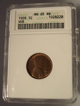 1909 Vdb Lincoln Wheat Cent Anacs Ms 65 Rb #G013 - $89.99