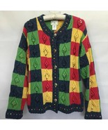 Susan Bristol 90s Sweater Cardigan Handmade Multicolor Plaid Cable Knit ... - $42.00
