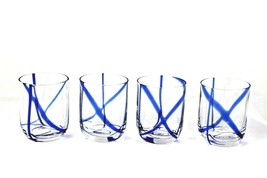 STUDIO NOVA Nautical Ahoy Cobalt Blue Old Fashioned Whiskey Low Ball Glasses 4 - $31.68