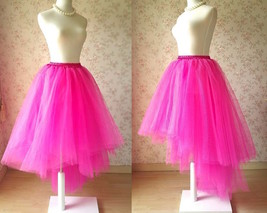 FUCHSIA PINK Irregular Fluffy Petticoat Tulle Skirt Adult Tutu Prom Skirt