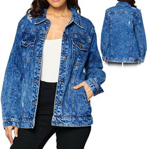 Women's Premium Casual Faded Distressed Denim Jean Button Up Cotton Jacket