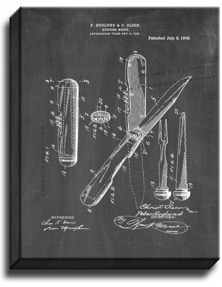 Primary image for Hunting Knife Patent Print Chalkboard on Canvas